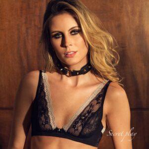 Choker Athena Couro Python com 8 Spikes Dourado - Secret Play - Sex shop