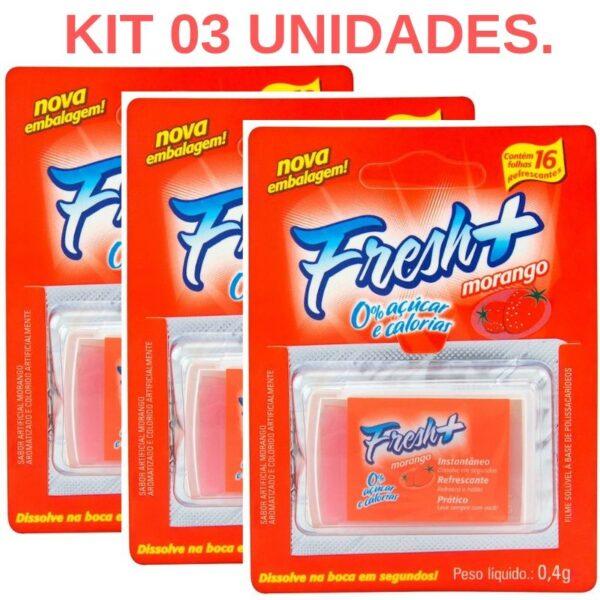 Kit 03 Lâminas Fresh Mais de Morango para sexo oral - Sexshop