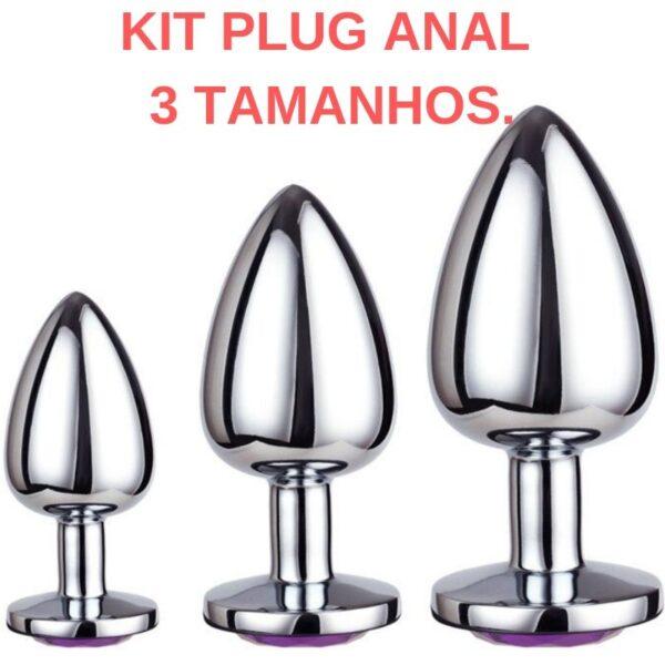 Kit 03 Plug anal em Metal Com Pedra - Sexshop
