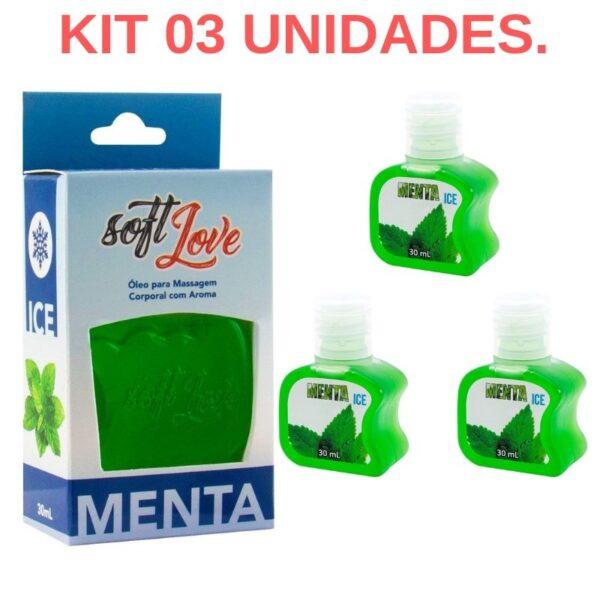 Kit 03 Gel Gelado Comestível Menta 30ml SoftLove - Sex shop