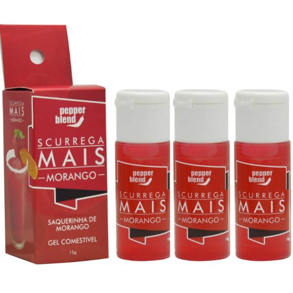 Kit 03 Gel comestível Scurrega Mais - MORANGO 15g Pepper Blend - Sex shop