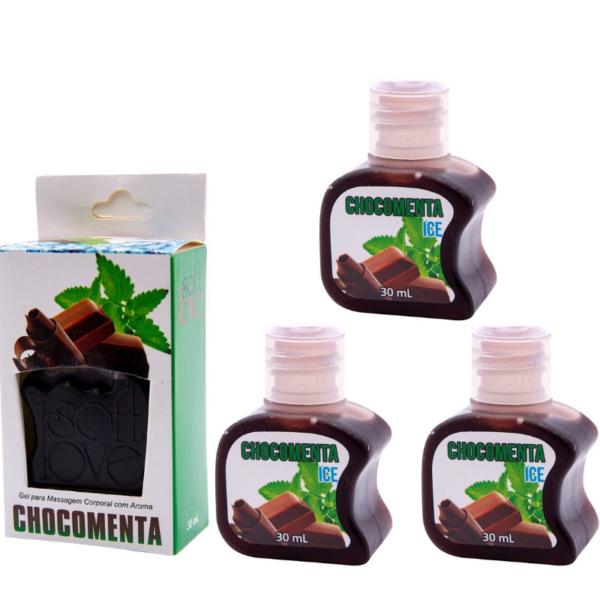 Kit 03 Gel Gelado Comestível Chocomenta 30ml SoftLove - Sex shop