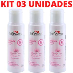 Kit 03 Sabonete Íntimo MORANGO COM CHAMPANHE 35ml - Sexshop