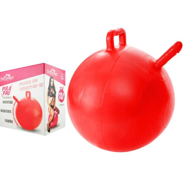Bola Pula Pula Vermelha com Pênis realista Hot Flowers SexShop