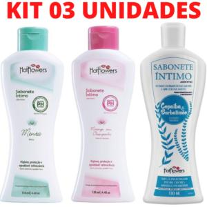 Kit 03 Sabonete Íntimo Hot Flowers 130ml - Sexshop