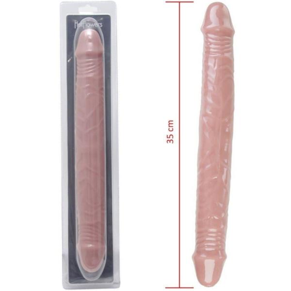 Pênis Real com duas pontas em Silicone 35x4,5 Hot Flowers - Sex shop