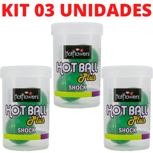 Kit 03 Hotball Plus Bolinha Shock HotFlowers - Sexshop