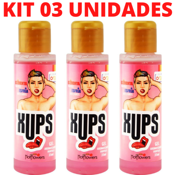 Kit 03 Xups Gel Sexo Oral 35ml Hortelã Hot Flowers - Sex shop