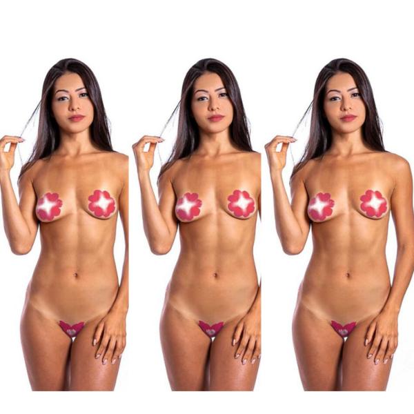 Kit 03 Tapa Sexo Flor Moranho e Champanhe Karamela Comestível Hot Flowers - Sex shop