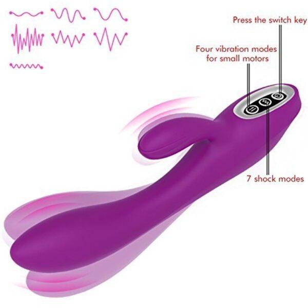 Vibrador Recarregável com Estimulador Clitoriano e 10 Modos de Vibração e Dois Motores - Sex shop