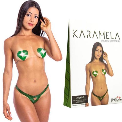 Kit 03 Calcinha e Seios Sabor Menta Comestíveis KARAMELA Hot Flowers - Sex shop