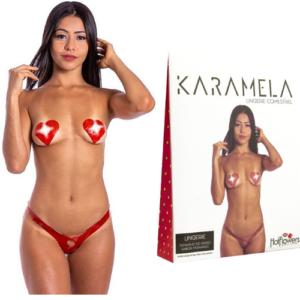 Calcinha e Seios Sabor Morango Comestíveis KARAMELA Hot Flowers - Sex shop