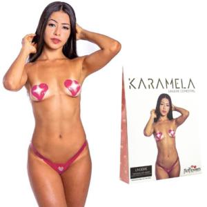 Calcinha e Seios Sabor Morango com Champanhe Comestíveis KARAMELA Hot Flowers - Sex shop