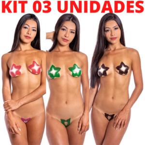 Kit 03 Tapa Sexo Estrela Karamela Cosmétivel Hot Flowers - Sex shop