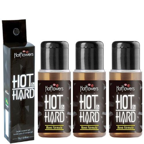 Kit 03 Gel prolongador de ereção Hot Hard 13gr Hot Flowers - Sexshop