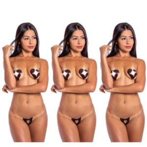 Kit 03 Tapa Sexo Chocolate Coração Karamela Comestível Hot Flowers - Sexshop