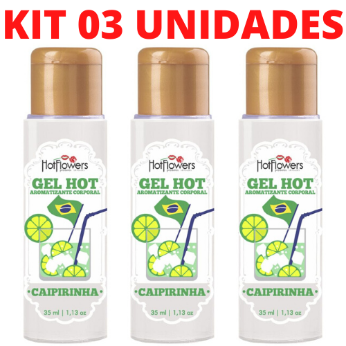 Kit 03 Gel Quente Aromatizante Caipirinha 35ml Hot Flowers - Sexshop
