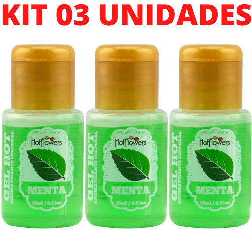 Kit 03 Gel Quente Aromatizante Menta 15ml Hot Flowers - Sex shop
