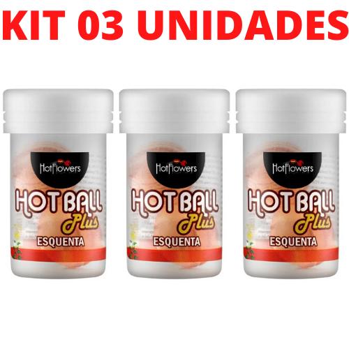 Kit 03 Bolinha Vaginal Hotball Plus Esquenta HotFlowers - Sexshop