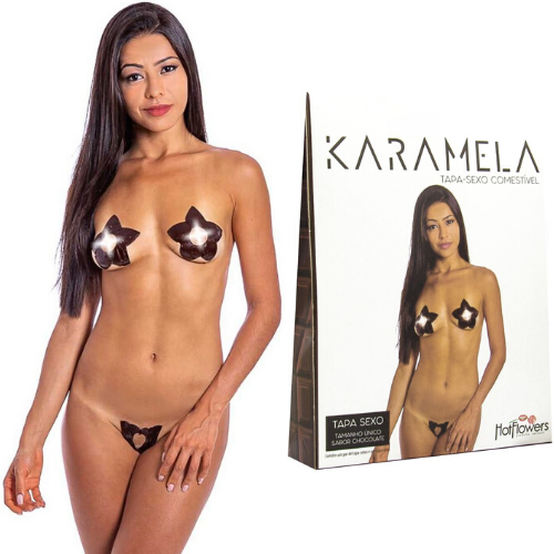Kit 03 Tapa Sexo Estrela Chocolate Karamela Cosmétivel Hot Flowers - Sex shop