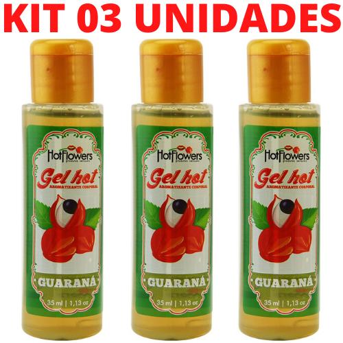 Kit 03 Gel Quente Aromatizante Guarana 35ml Hot Flowers - Sexshop