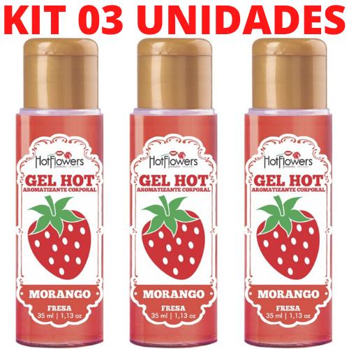 Kit 03 Gel Quente Aromatizante Morango 35ml Hot Flowers - Sexshop