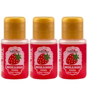 Kit 03 Gel Quente Aromatizante Morango 15ml Hot Flowers - Sex shop