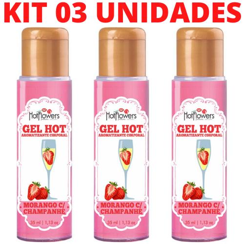 Kit 03 Gel Quente Aromatizante Morango com Champanhe 35ml Hot Flowers - Sexshop