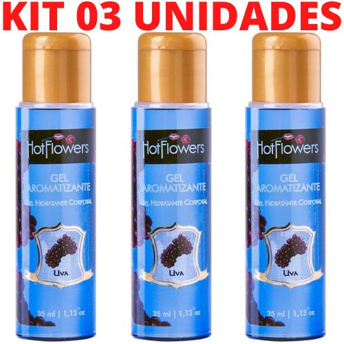 Kit 03 Gel Sexo Oral Quente Aromatizante Uva 35ml HotFlowers - Sexshop