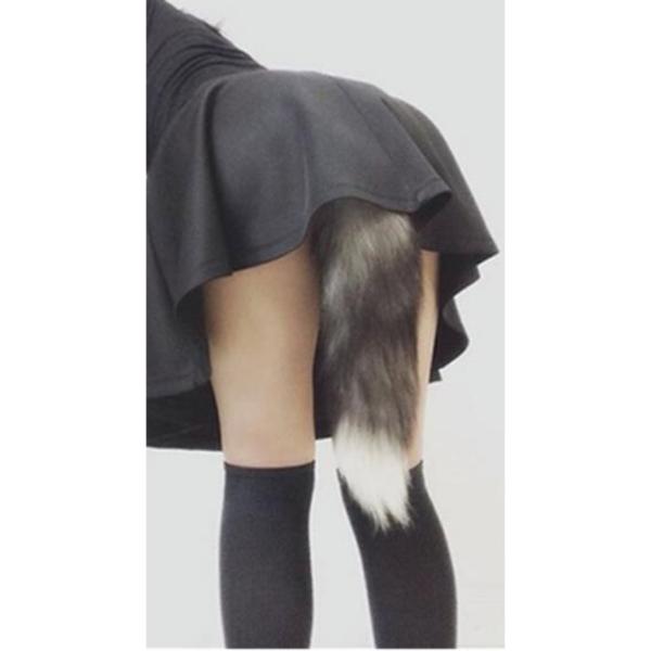 Plug Anal Ondulado de silicone com cauda de raposa Negra - Sex shop