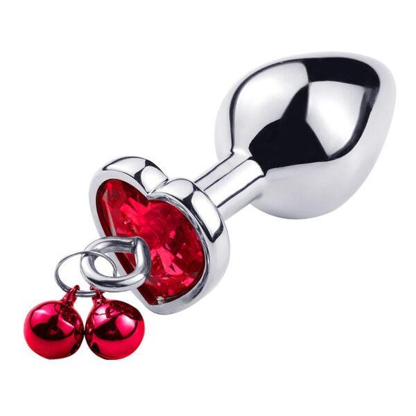 Plug Anal de Coração Em Aço - Com Sino e Corrente - Tamanho P - Sexshop