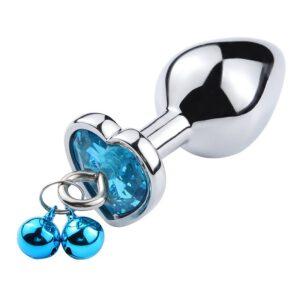 Plug Anal de Coração em Aço Com Sino - Tamanho M - Sexshop