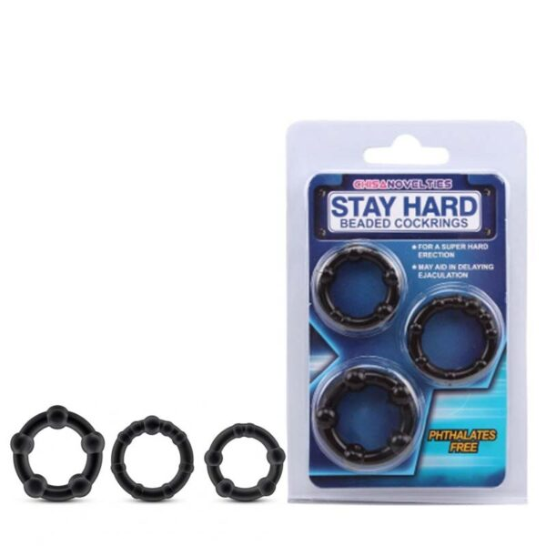Kit com 3 Anéis Penianos e Nódulos Massageadores - STAY HARD