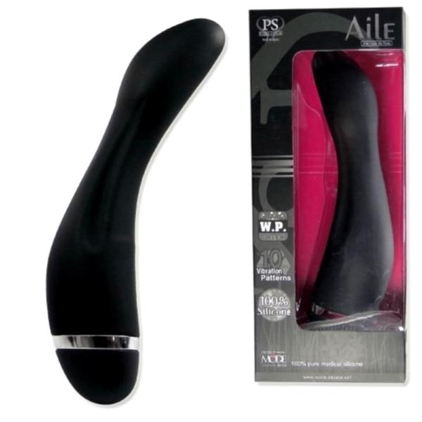 Vibrador Curvo Ponto G Aile - Liso em Silicone ABS - Sex shop