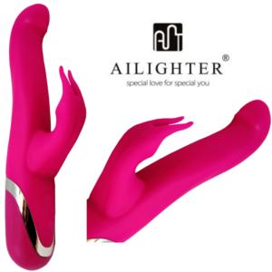 Vibrador Elena duplo com estimulador motorizado - AILIGHTER - Sex shop