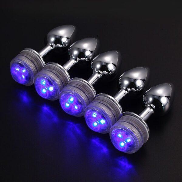 Plug Anal em Aluminio 7 cm com Luz de Led Varias Cores