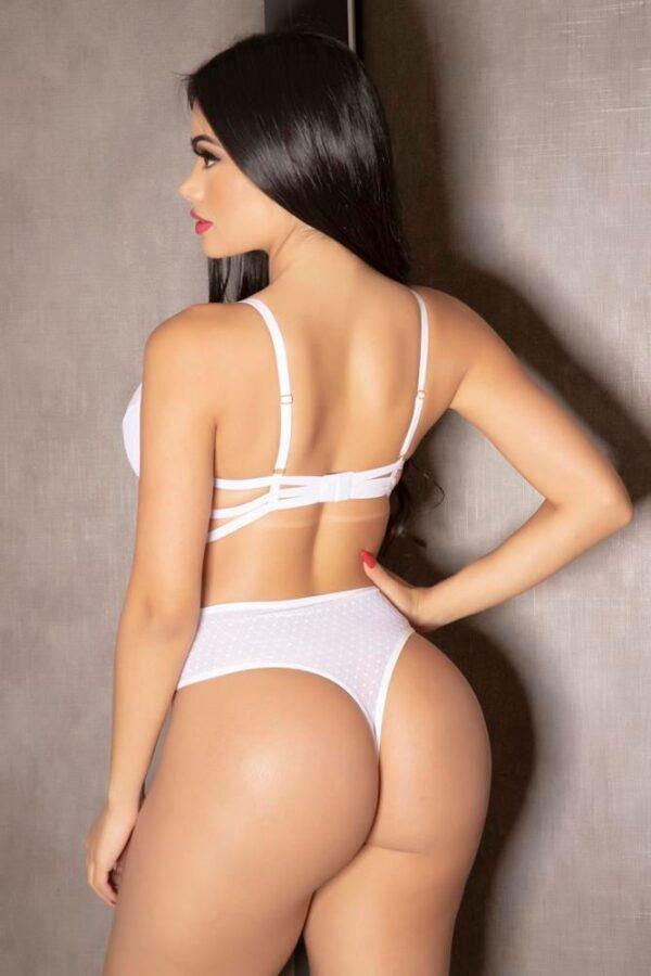 Body Sofisticado em Tule Branco e Laise com tiras - Garota Veneno