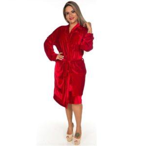 Roupão Feminino Veludo Vermelho - Pimenta Sexy